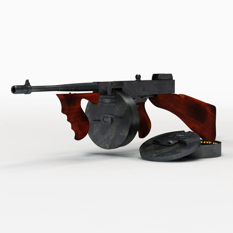 3d model tommy gun set