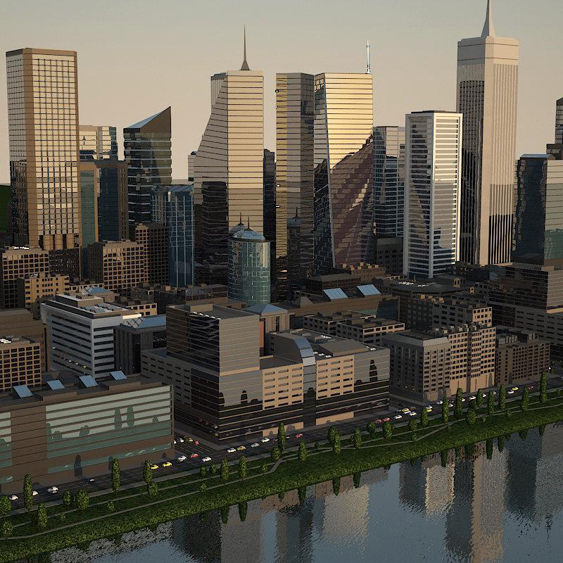 cityscape city buildings 3d model