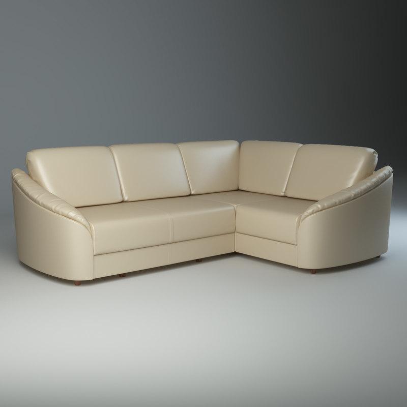 3d model corner sofa donata furniture