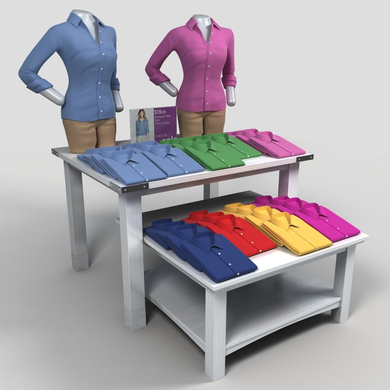 3ds max display table women long