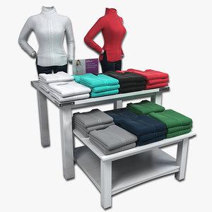 3d model display tables women sweaters