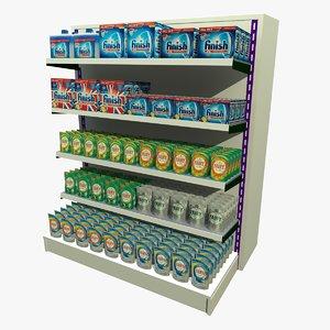 3d dishwasher detergent shopping shelf