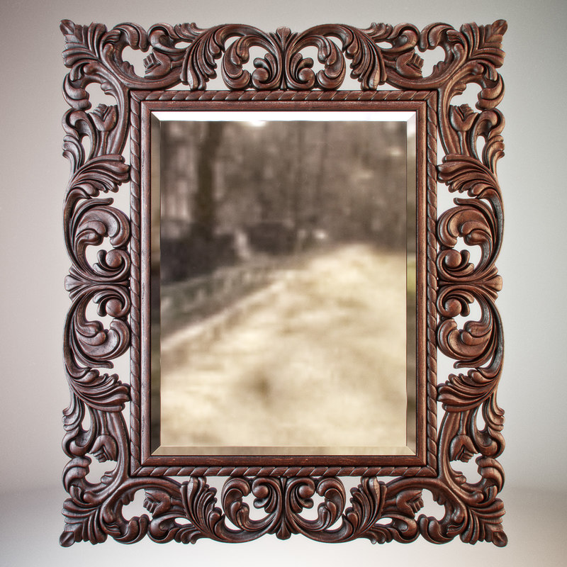 3d old carved mirror model