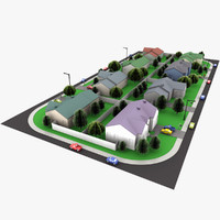 3d model neighborhood block segment