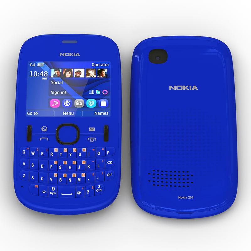 nokia asha 201 blue 3d max