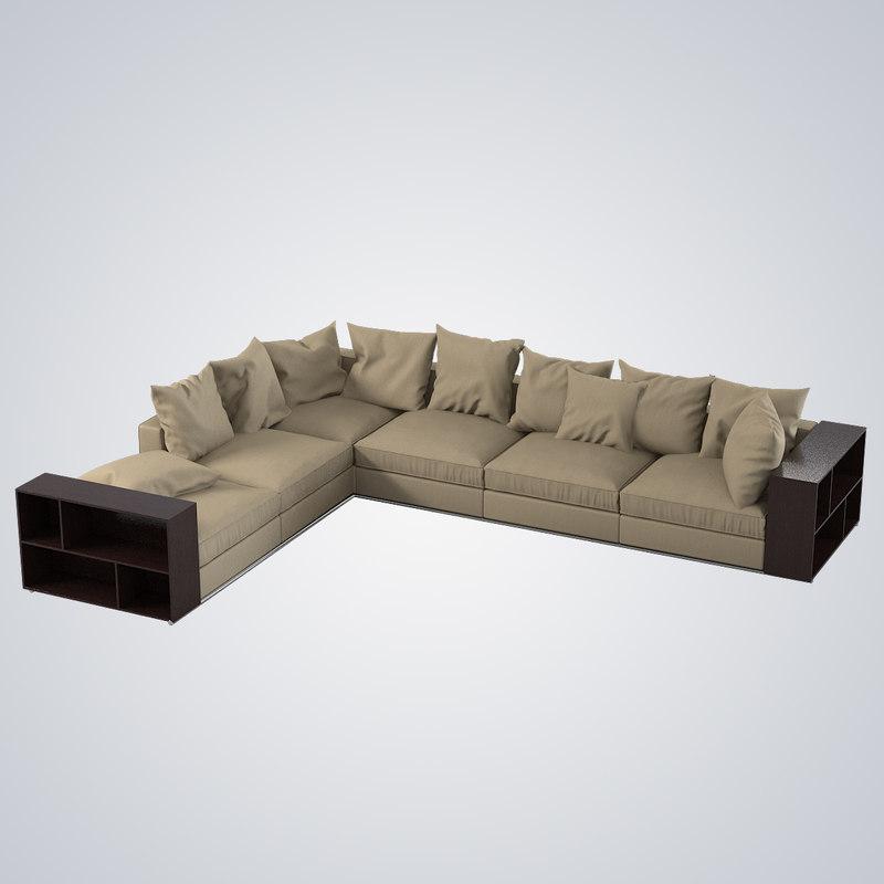Flexform groundpiece sofa 3d model for Flexform groundpiece