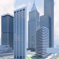 3d cityscape rise buildings model