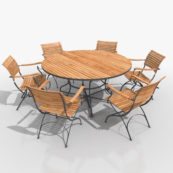 classical patio furniture set 3d model