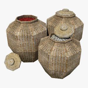 rattan baskets contains 3d max