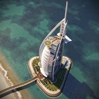 burj al arab hotel 3d obj