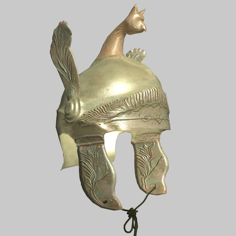 ancient greek helmet bc obj