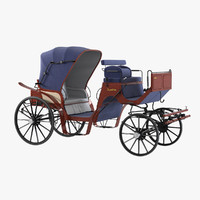 vintage horse carriage 3d model