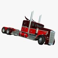 truck trailer w900 3d model