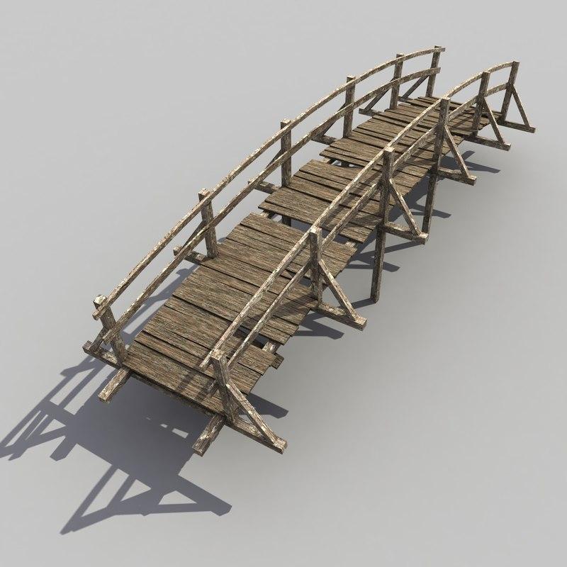wood wooden bridge 3d model