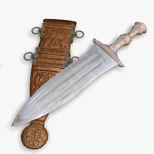 ancient roman dagger pugio 3d model