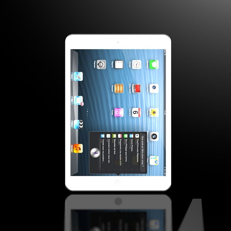 3d model new ipad mini white