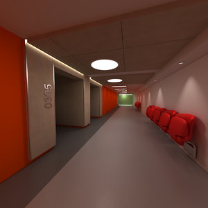 university school corridor 3d model