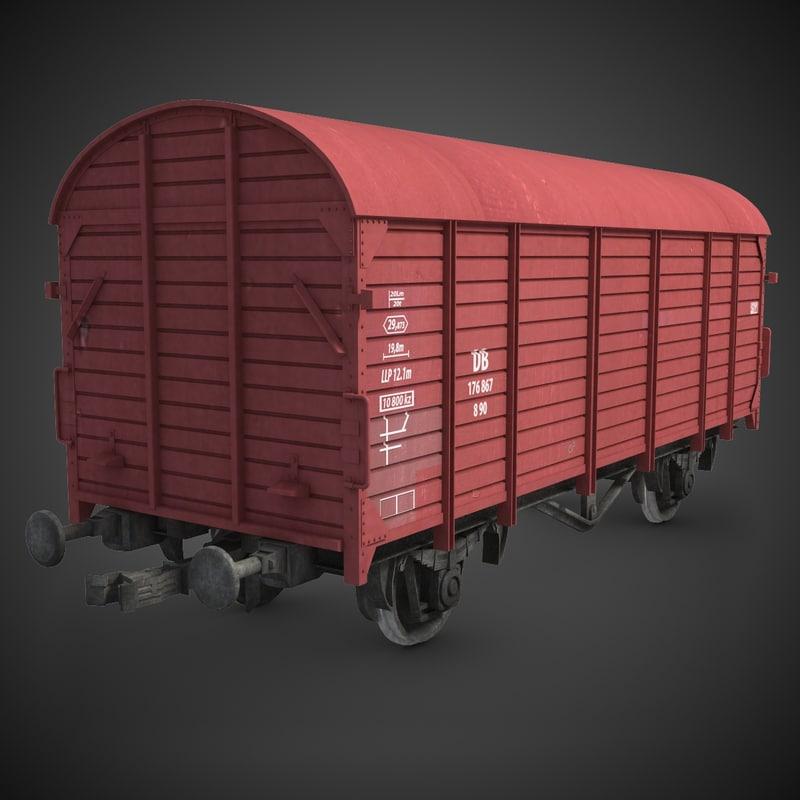 cargo train wagon 3d max