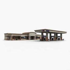 3d model of chevron gas station convenience store
