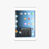 3d model new ipad mini white