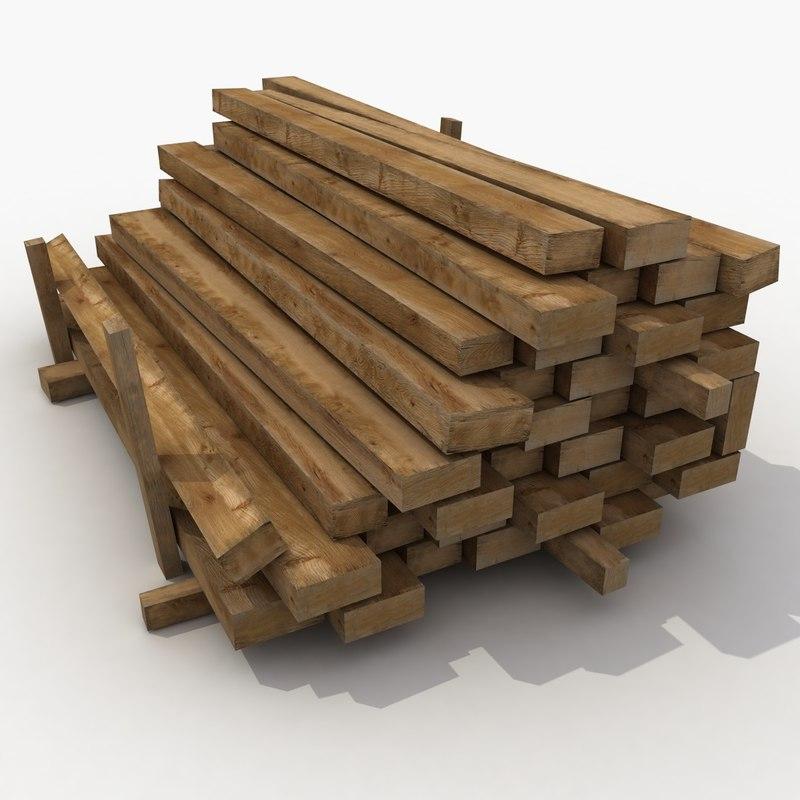 3d wooden wood beam model