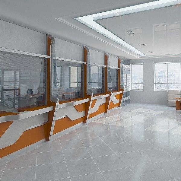 bank interior scene 3d fbx