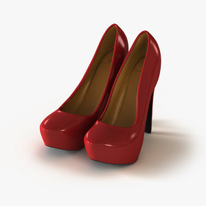 3ds max shoes red leather pumps