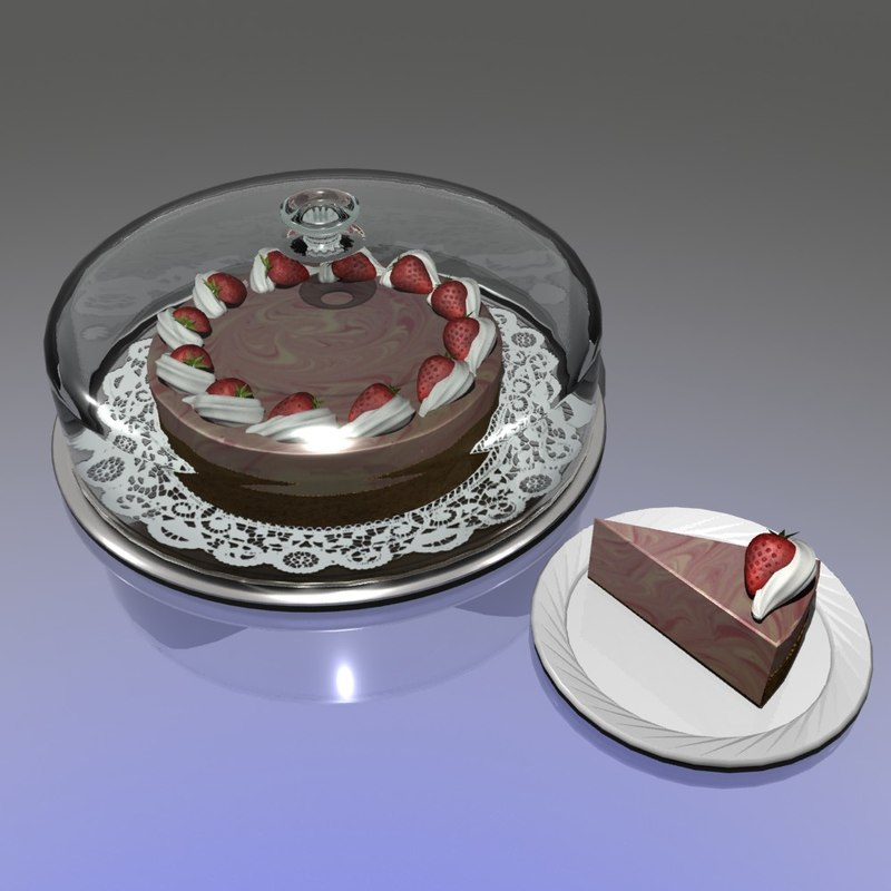 3d model of strawberry marble cheesecake