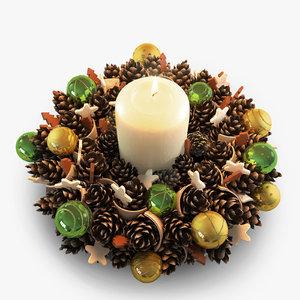 christmas cone wreath 3d max