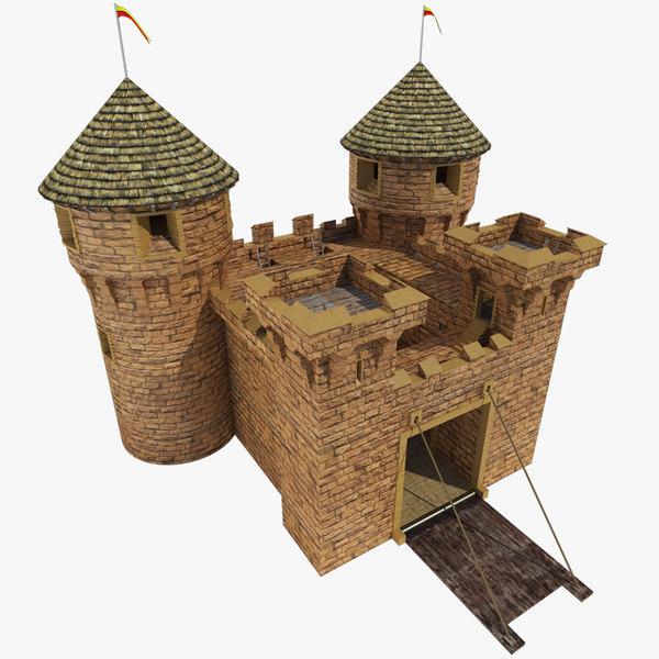3d model realistic medieval castle gate
