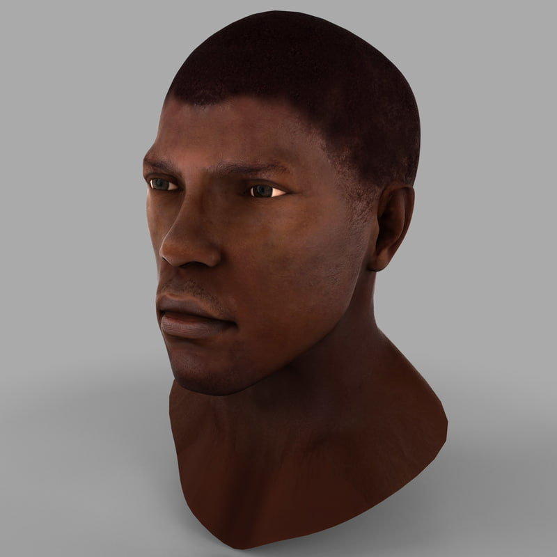 3d model black male head