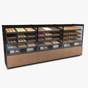 3d bakery case doughnuts bagels
