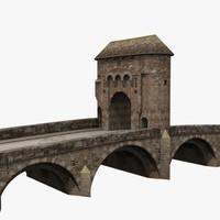 old monnow landmark bridge 3d max