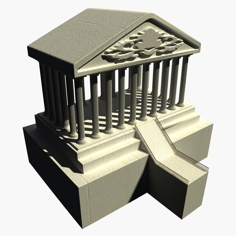 3d historical temple stone model