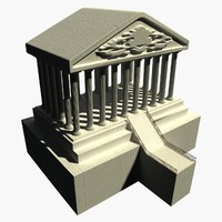 3d historical temple stone model
