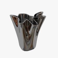 3d metal wave vase model