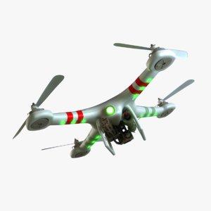 3d model quadcopter guns propellers