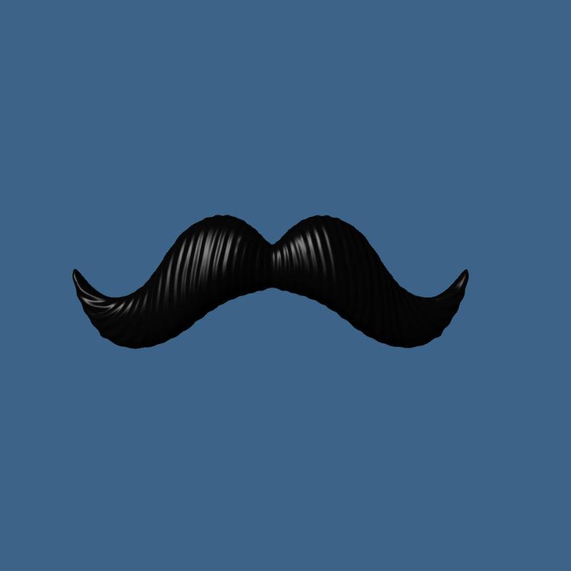 3dsmax cartoon handlebar style mustache