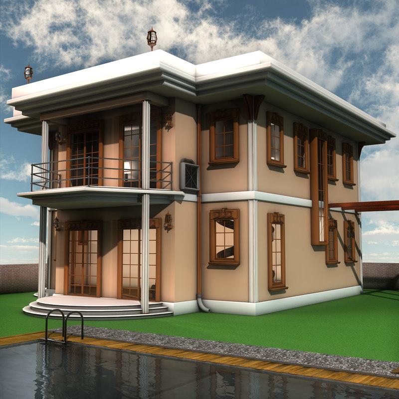 3d modern villa interior furniture for Model villa moderne