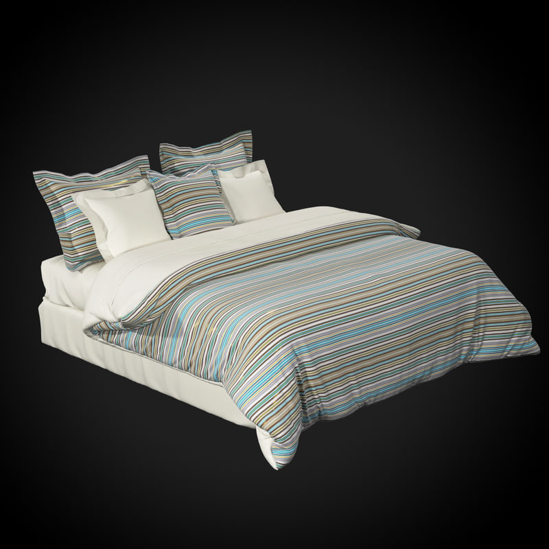 high-quality king size bed 3d model