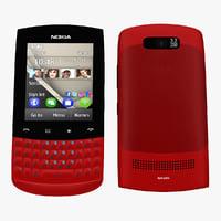 3d nokia asha 303 red model