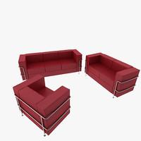 Modern Style Double Sofa and Armchair Set