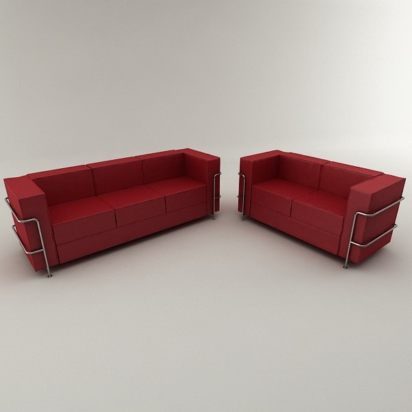 3d model real modern leather sofa