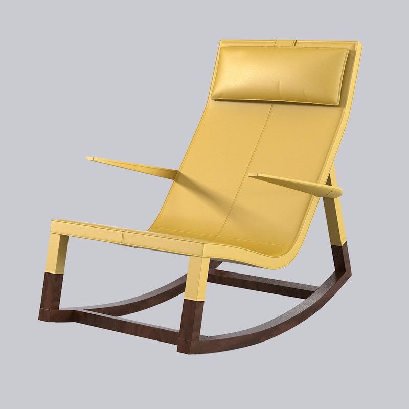 poltrona frau don rocking chair 3d model
