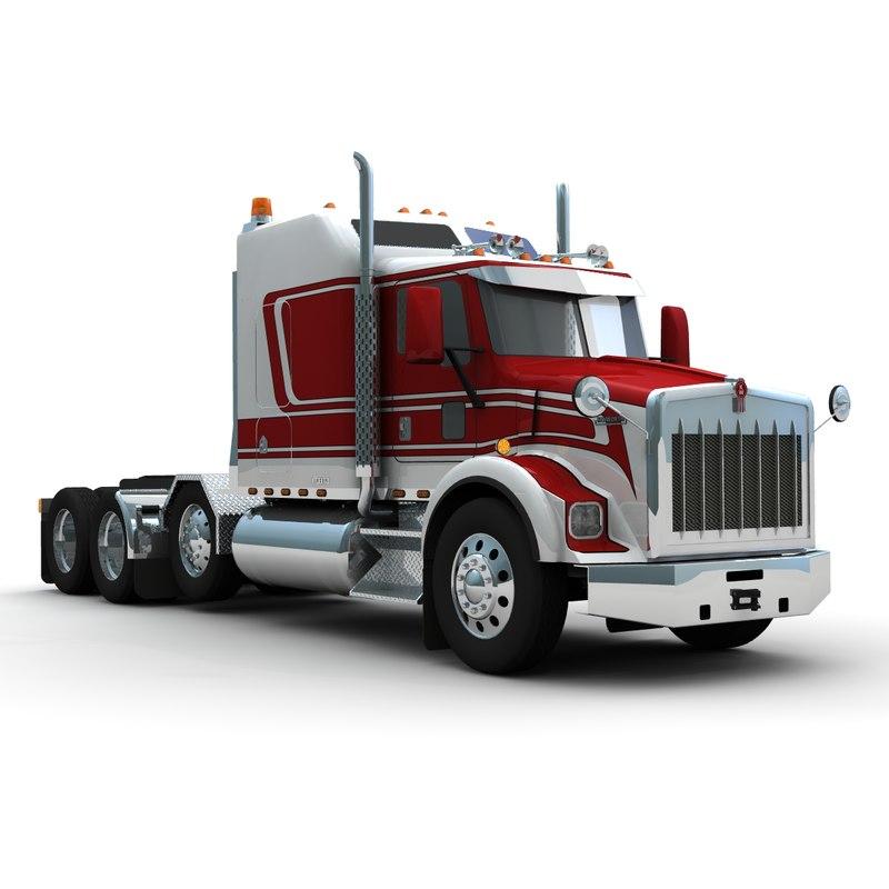 3d t800 truck heavy haul model