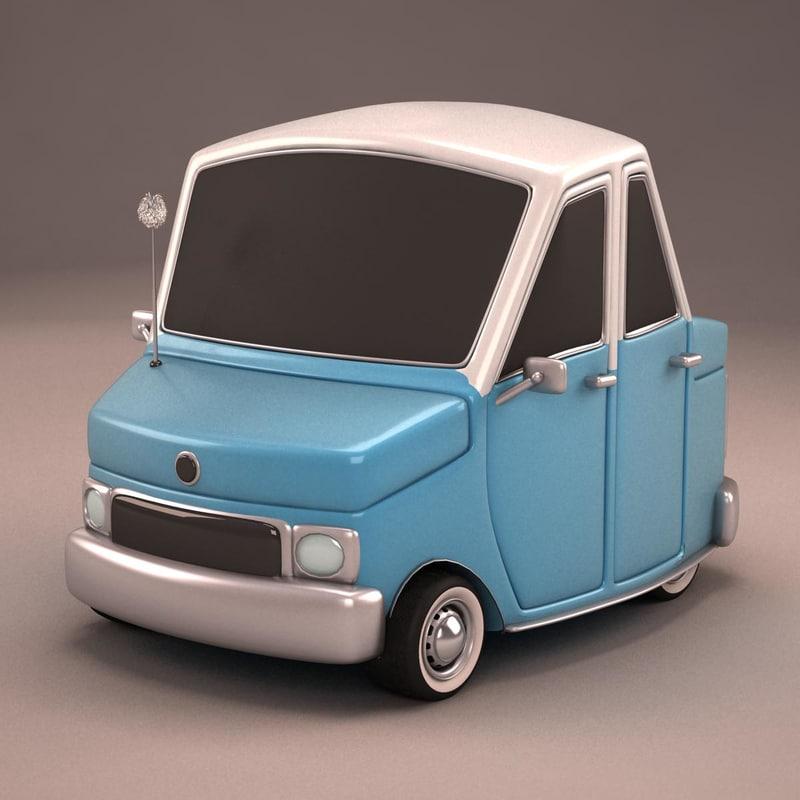 3d Model Antique Cartoon Car