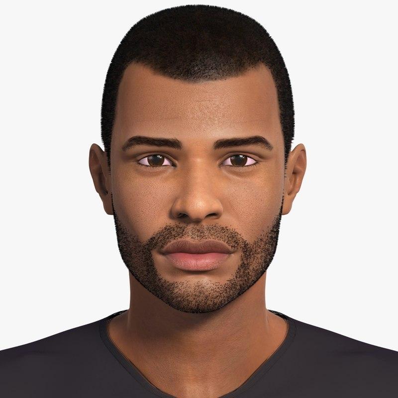 3d afro-american man character wayne model