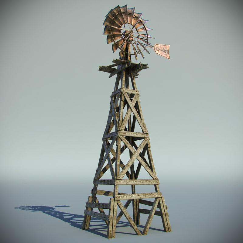 old farm windmill 3d max