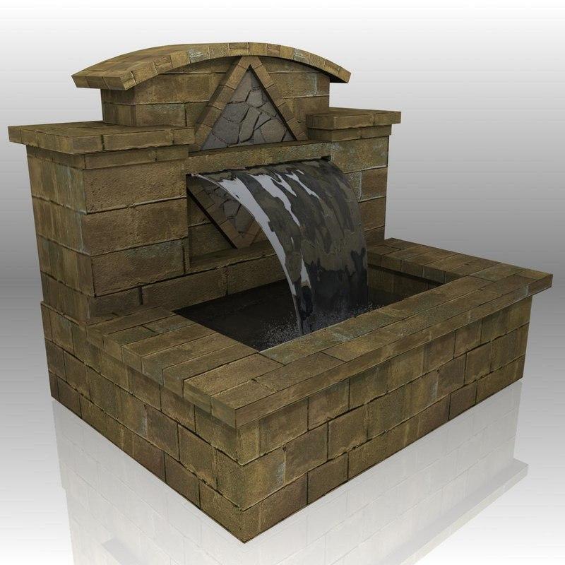 garden water fountain features 3d obj