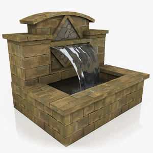 garden water fountain features 3d obj